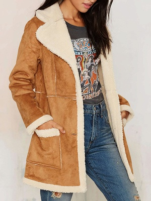 Brown Shift Shawl Collar Buttoned Casual Fur and Shearling Coat_4