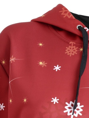 Christmas Hooded Couple Clothes Red Cartoon Santa Claus Snowflake Printed Long Sleeves Thick Hoodie for Men/Women - WSDe_4