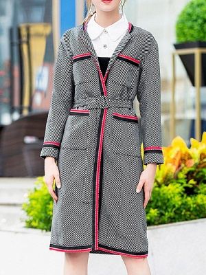 Gray Casual Long Sleeve Paneled Coat_8