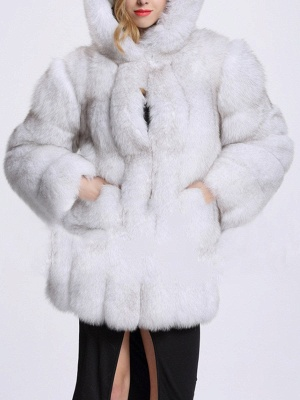 Fluffy Hoodie Casual Artificial LeatherAnd Shearling Coat_2
