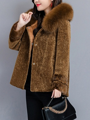 Pockets Buttoned Paneled Fur and Shearling Coat_6