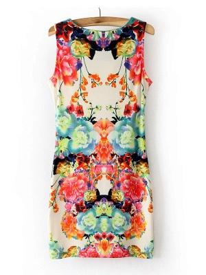 Summer Sleeveless Cyclic Symmetry Printed Mixed Colors Vest Bodycon Dress_3