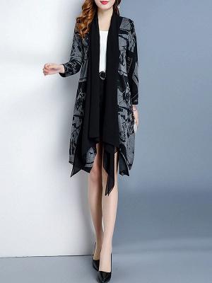 Black Long Sleeve Shawl Collar Paneled Abstract Coat_4