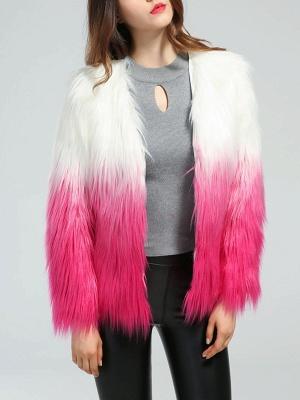 Faux Fur Shift Long Sleeve Casual Fur and Shearling Coat_1