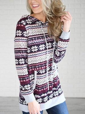 Ethnic Style Snowflake Printed Long Sleeves Hooded Christmas Fleece Hoodies for Women_4