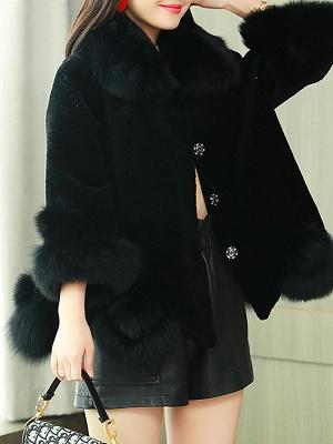 Paneled Shawl Collar Long Sleeve Fur And Shearling Coats_4