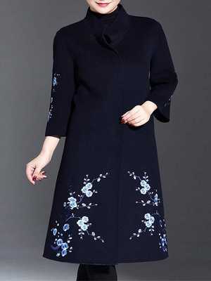 Long Sleeve Floral-embroidered Casual Floral Coat_2