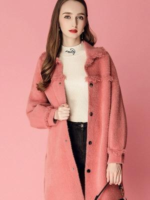 Sweet Raglan Sleeve Buttoned Fur And Shearling Coats_7