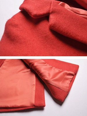 Red Casual Buttoned Lapel Coat_7