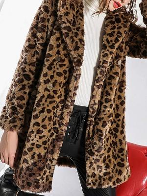 Camel Shawl Collar Shift Casual Long Sleeve Fur and Shearling Coat_7