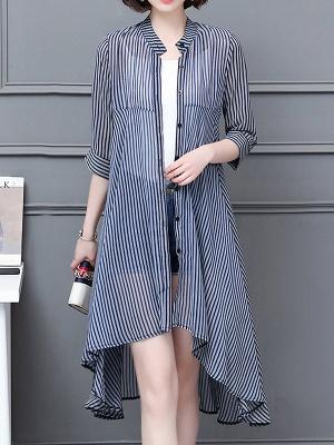 al Shirt Collar 3/4 Sleeve See-through Look Chiffon Striped_1