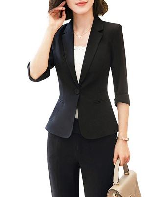 3/4 Sleeve Casual V neck Polyester Pockets Coat_9