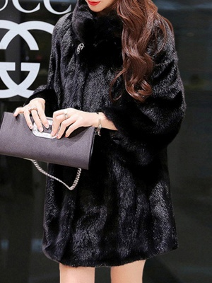 Long Sleeve Casual Fluffy Fur And Shearling Coats_2