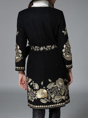 Black Long Sleeve V-Neck Floral-embroidered Coat_3