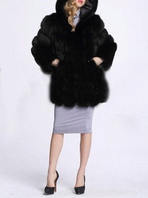 Fluffy Hoodie Casual Artificial LeatherAnd Shearling Coat_8