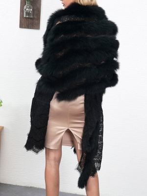 Guipure lace Paneled Fluffy Fur and Shearling Coat_6