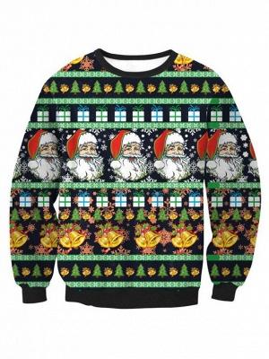 Black Santa Claus Printed Long Sleeves Cute Christmas Sweatshirts for Women_1