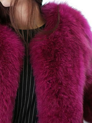 Casual 3/4 Sleeve Solid Fluffy  And Shearling Coat_7