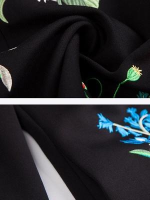 Black 3/4 Sleeve Crew Neck Coat_5