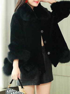 Buttoned Fluffy Shift Paneled Fur And Shearling Coats_4
