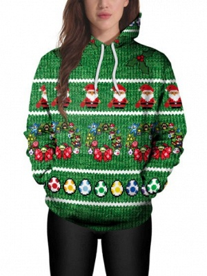 Christmas Casual Couples Hoodies Green Santa Claus Cartoon Printed Hooded Clothes for Men/Women_4