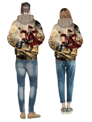 Ugly Christmas Plus Size Couple Hoodies Santa Claus Pirate Fashion Printed Hooded Clothes for Men/Women_5