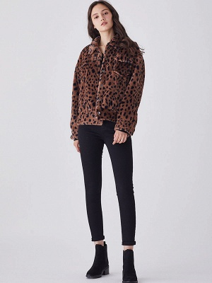 Brown Shift Leopard Print Casual Fur And Shearling Coats_6