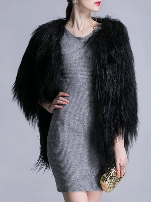 Black Fluffy Crew Neck Casual 3/4 Sleeve Fur and Shearling Coat_5