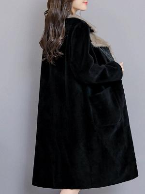 Black Work Lapel Paneled Pockets Fur And Shearling Coats_8