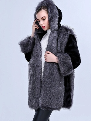 Gray Fluffy Hoodie Solid Fur And Shearling Coats_4
