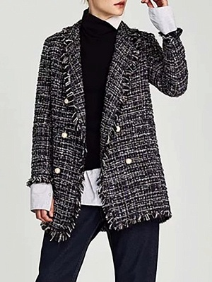 Royal blue Shift Shawl Collar Checkered/Plaid Coat_1