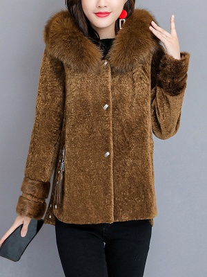 Pockets Buttoned Paneled Fur and Shearling Coat_1