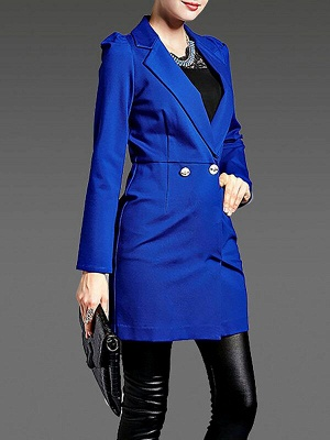 Blue Long Sleeve Buttoned Casual Coat_4