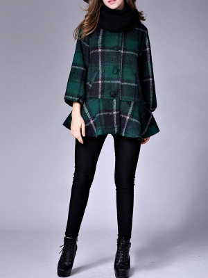 Checkered/Plaid Raglan Sleeve Casual Color-block Coat_9
