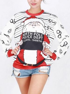 White Santa Claus Letter Printed Stripes Long Sleeves Christmas Sweatshirt_2