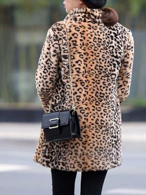 Brown Shawl Collar Casual Shift Pockets Fur And Shearling Coats_3