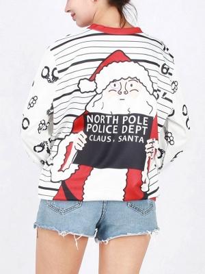 White Santa Claus Letter Printed Stripes Long Sleeves Christmas Sweatshirt_6