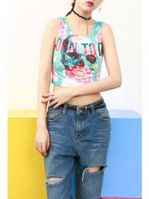 Blue Sleeveless Tank Tops Flowers Letters Printed Cropped T-shirt_4