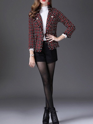 Red Work 3/4 Sleeve Checkered/Plaid Buttoned Coat_5