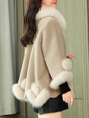 Paneled Shawl Collar Long Sleeve Fur And Shearling Coats_12