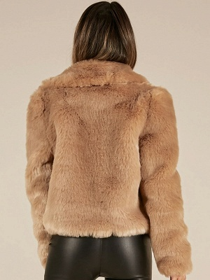 Yellow Brown Long Sleeve Casual Fluffy Fur And Shearling Coats - StyleWe.com_3