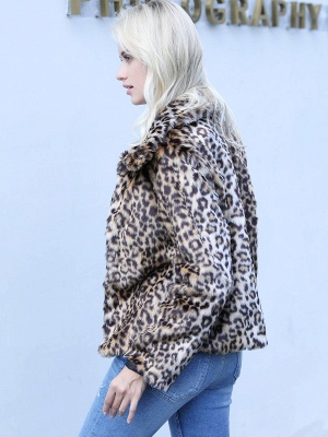 Brown Leopard Print Casual Fur And Shearling Coats_3