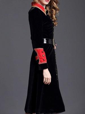 Black Solid Shift Elegant Velvet Coat_4