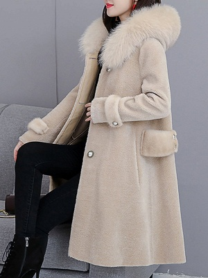 Casual Solid Long Sleeve Fur And Shearling Coats_10