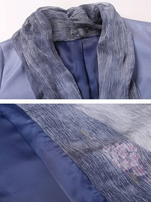 Blue Casual Paneled Shift Floral Coat_6