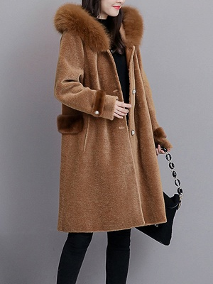 Casual Solid Long Sleeve Fur And Shearling Coats_1