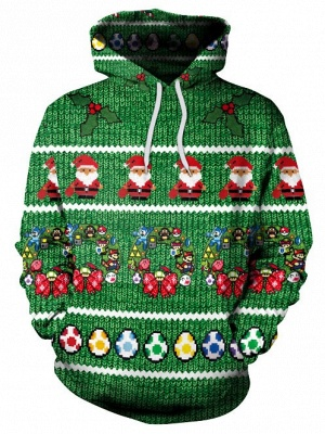 Christmas Casual Couples Hoodies Green Santa Claus Cartoon Printed Hooded Clothes for Men/Women_2