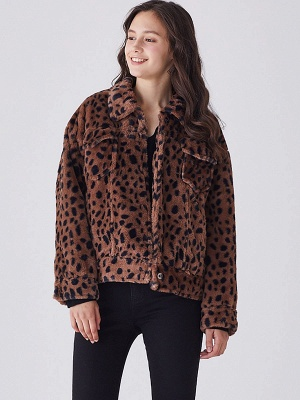 Brown Shift Leopard Print Casual Fur And Shearling Coats_4