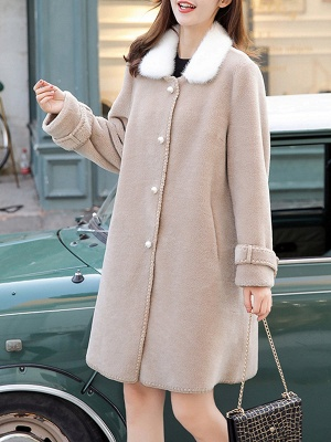 Buttoned Solid Shirt Collar Paneled Fur And Shearling Coats_12