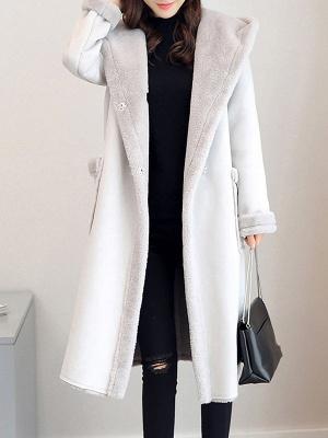 Hoodie Long Sleeve Casual Fur And Shearling Coats_1